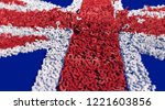 uk flag made with many red and ... | Shutterstock . vector #1221603856