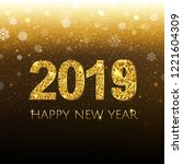 2019 golden new year banner... | Shutterstock .eps vector #1221604309