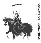 death with scythe rides horse... | Shutterstock .eps vector #1221605956