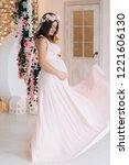 charming brunette pregnant... | Shutterstock . vector #1221606130