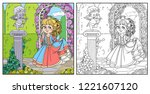 lovely princess in park with... | Shutterstock .eps vector #1221607120
