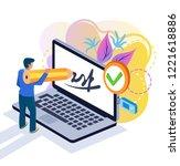 businessman partner client man... | Shutterstock .eps vector #1221618886