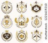 set of luxury heraldic vector... | Shutterstock .eps vector #1221619210