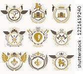 collection of vector heraldic... | Shutterstock .eps vector #1221619240