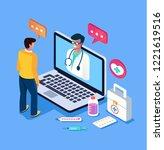 patient man character calling... | Shutterstock .eps vector #1221619516