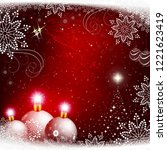 christmas red design with white ... | Shutterstock .eps vector #1221623419