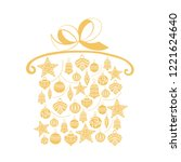 christmas gift  sketch drawing...   Shutterstock .eps vector #1221624640