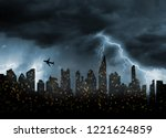 bad stormy weather in city   | Shutterstock . vector #1221624859