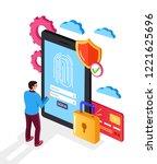 man user character put finger...   Shutterstock .eps vector #1221625696