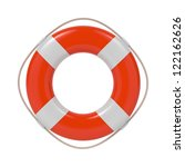 Red Lifebuoy With White Strips...