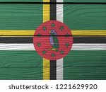 Flag Of Dominica On Wooden Wall ...