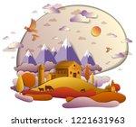 farm in scenic autumn landscape ...   Shutterstock .eps vector #1221631963
