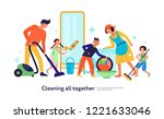 kids helping parents with... | Shutterstock .eps vector #1221633046