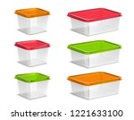 plastic colored food containers ... | Shutterstock .eps vector #1221633100