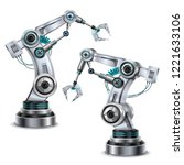 robotic arm realistic set with... | Shutterstock .eps vector #1221633106
