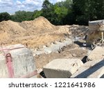 row of concrete piles with... | Shutterstock . vector #1221641986