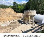yellow concrete pouring device... | Shutterstock . vector #1221642010