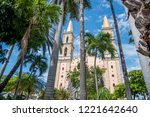 cathedral of mazatlan sinaloa mexico, yellow domes, blue sky, between trees, downtown, sunny day, tourism, travel, beach