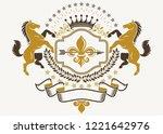 classy emblem  vector heraldic... | Shutterstock .eps vector #1221642976