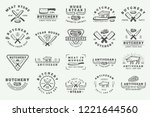 set of vintage butchery meat ... | Shutterstock .eps vector #1221644560