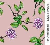 violet pansies flower seamless...   Shutterstock . vector #1221649006
