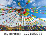 tibetan buddhist flags in the... | Shutterstock . vector #1221653776