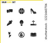 universal icons set with bulb ...