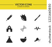 medical icons set with hospital ...