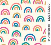 Stock vector vector seamless pattern with colored rainbows simple repeated texture with bright design elements 1221662230