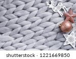 christmas wooden decor on gray... | Shutterstock . vector #1221669850