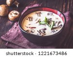 Stock photo bowl of thai tom kha soup on the wooden table 1221673486