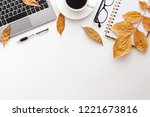 white desk copy space seen from ... | Shutterstock . vector #1221673816