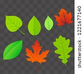 set autumn leaves  isolated.... | Shutterstock .eps vector #1221677140