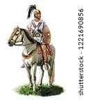 illustration of an ancient... | Shutterstock . vector #1221690856