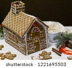 gingerbread house. christmas... | Shutterstock . vector #1221695503