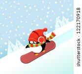 snowboarding penguin | Shutterstock .eps vector #122170918
