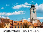 downtown medieval houses of... | Shutterstock . vector #1221718573