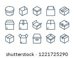 set of box related line vector...
