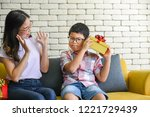 boy are thinking it was in the... | Shutterstock . vector #1221729439