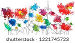 vector drawing flowers with... | Shutterstock .eps vector #1221745723