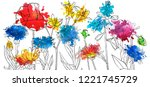 vector drawing flowers with... | Shutterstock .eps vector #1221745729
