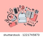 hand drawn fashion illustration ...   Shutterstock .eps vector #1221745873