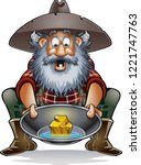 cartoon prospector with gold in ... | Shutterstock .eps vector #1221747763