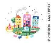 cartoon city with dinosaur...   Shutterstock .eps vector #1221750496