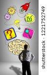 businessman watching a problem... | Shutterstock . vector #1221752749