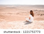 young slim and sporty woman sit ...   Shutterstock . vector #1221752773