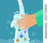kid washing hands. clean hand... | Shutterstock .eps vector #1221753019
