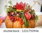 autumn background of pumpkins ... | Shutterstock . vector #1221753946