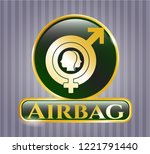 golden emblem with gender... | Shutterstock .eps vector #1221791440