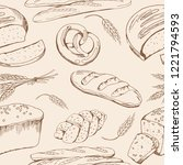 bread vector hand drawn set... | Shutterstock .eps vector #1221794593